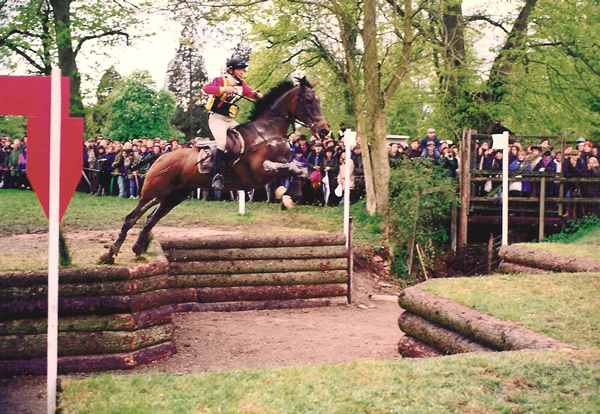 Helen Bell riding cross-country at Badminton 1992