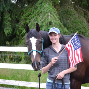 Horse and girl with an American flag