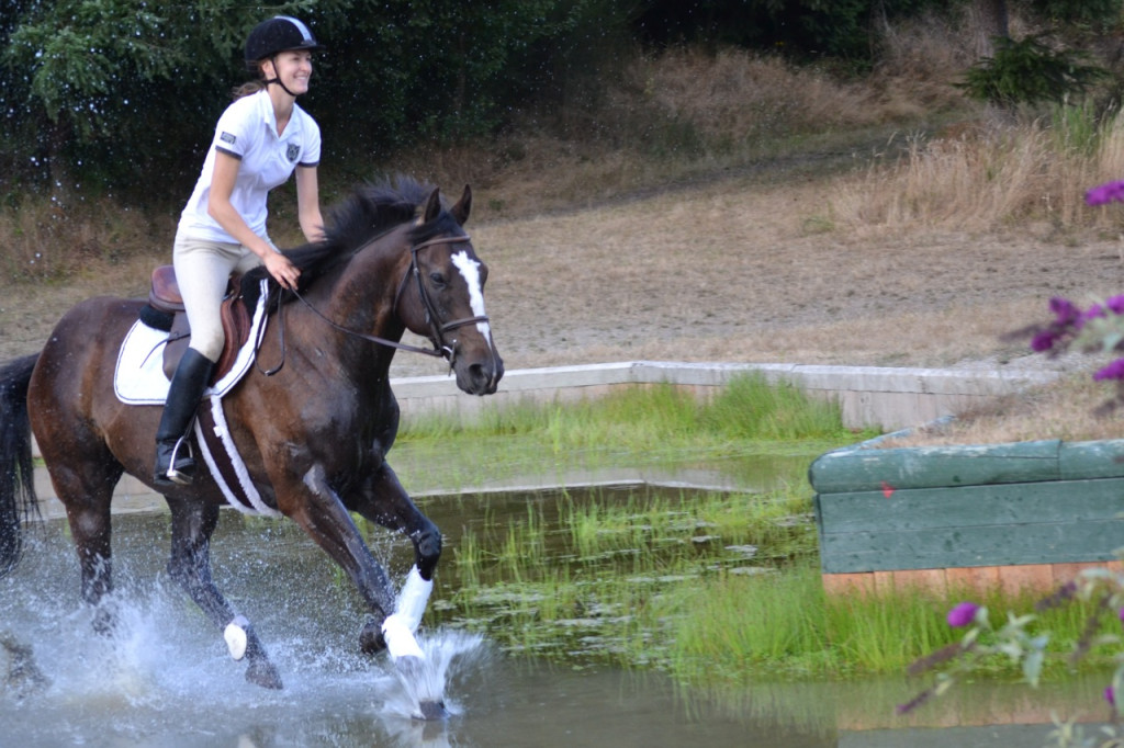 Cantering in water jump