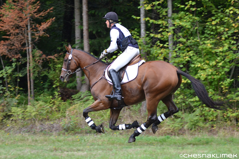 Karen and Markus galloping on cross-country