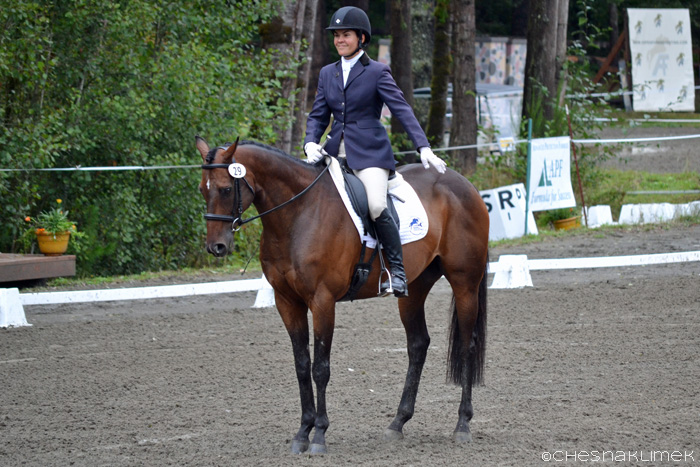 Dressage horse and rider final salute
