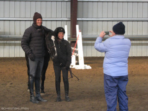 Boyd Martin taking a picture with a student
