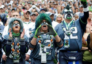 Seahawks fans in costumes