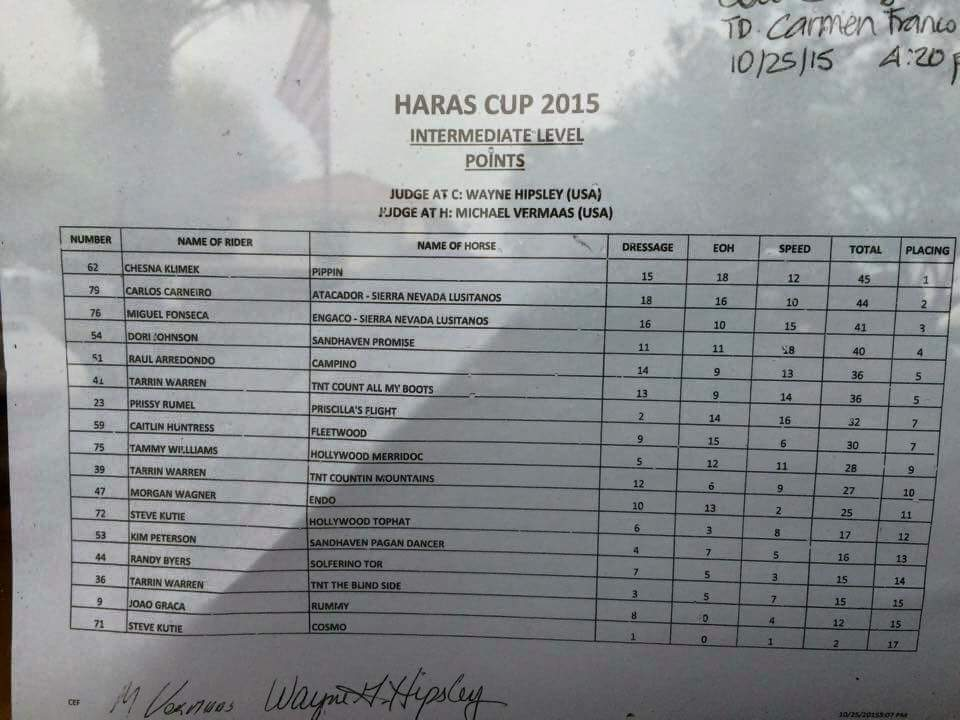 Final horse show results Intermediate Haras Cup