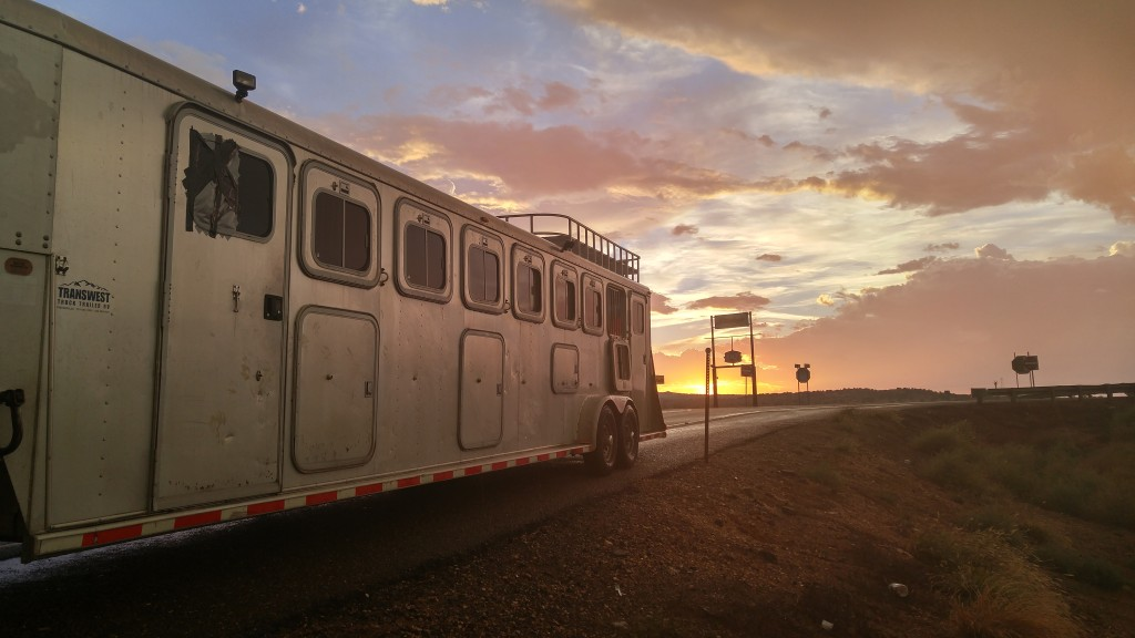 Horse trailer at sunset