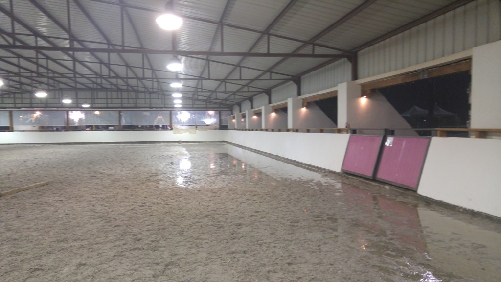 Flooded indoor arena